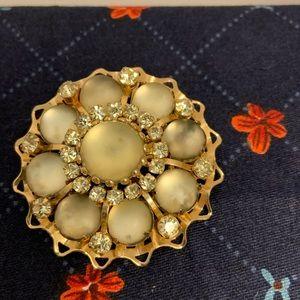 Vintage Moonstone Rhinestone Brooch Pin